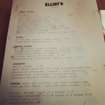 Elliots cafe menu sample