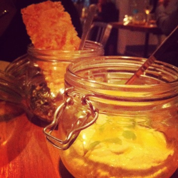 Cold dishes served in jars at Mazi, London